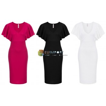 Женское платье Flounce Sleeves Dresses Pink Black White