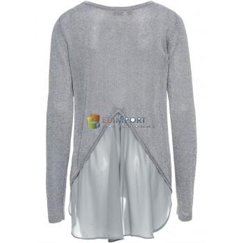 Дамский свитер люрекса с шифоновым серо-серебряным свитером