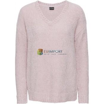 Дамский бархатистый свитер Розовый вязаный V-образный вырез