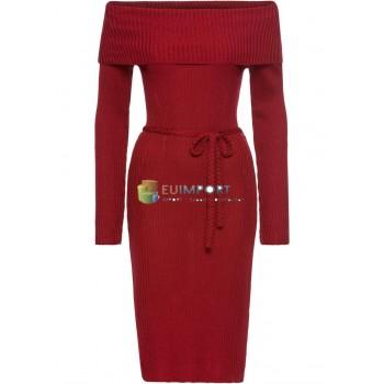 Вязание Платье Красное Женское Карменное платье для шеи