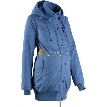 Куртка женская куртка для беременных с капюшоном и манжетами в рубчик синего цвета